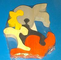 Деревянная игрушка-пазл Носорог, фото 1