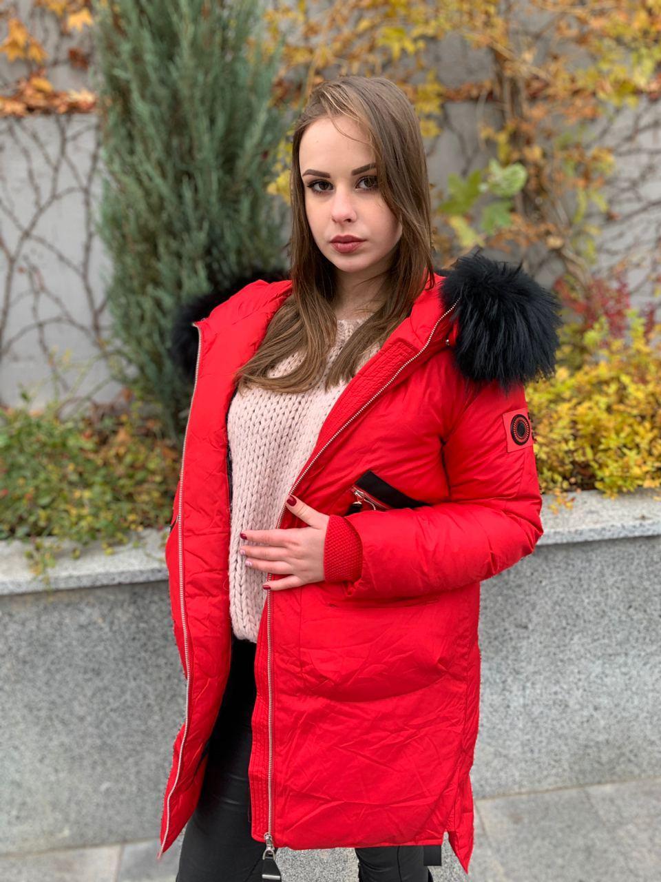 Стильный красный пуховик CHANEVIA 92016-79-red
