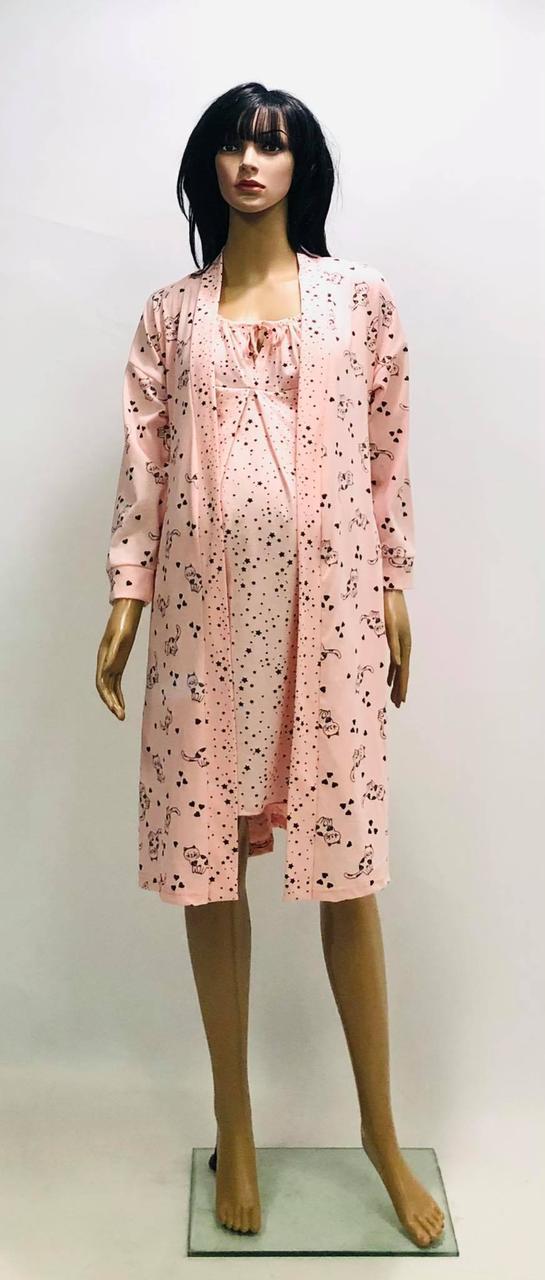 Комплект хлопковый халат и ночная рубашка для беременных и кормящих мам