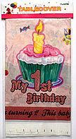 """Скатертина рожева """"Моє 1-ше день народження"""", 180*110 см, Скатерть """"My 1st Birthday"""""""