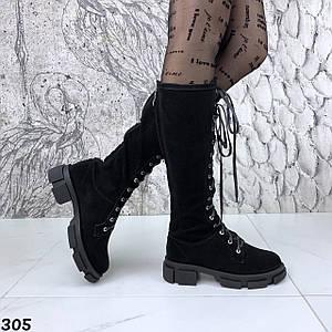 Модные женские сапоги со шнуровкой