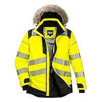 Светоотражающая зимняя куртка-парка Portwest PW369, Желтый/Черный, S