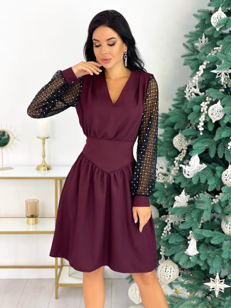 Нарядное бордовое платье с сеткой