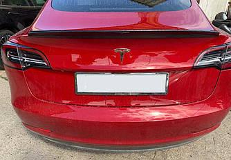 Карбоновий спойлер Tesla Model 3 шабля тюнінг