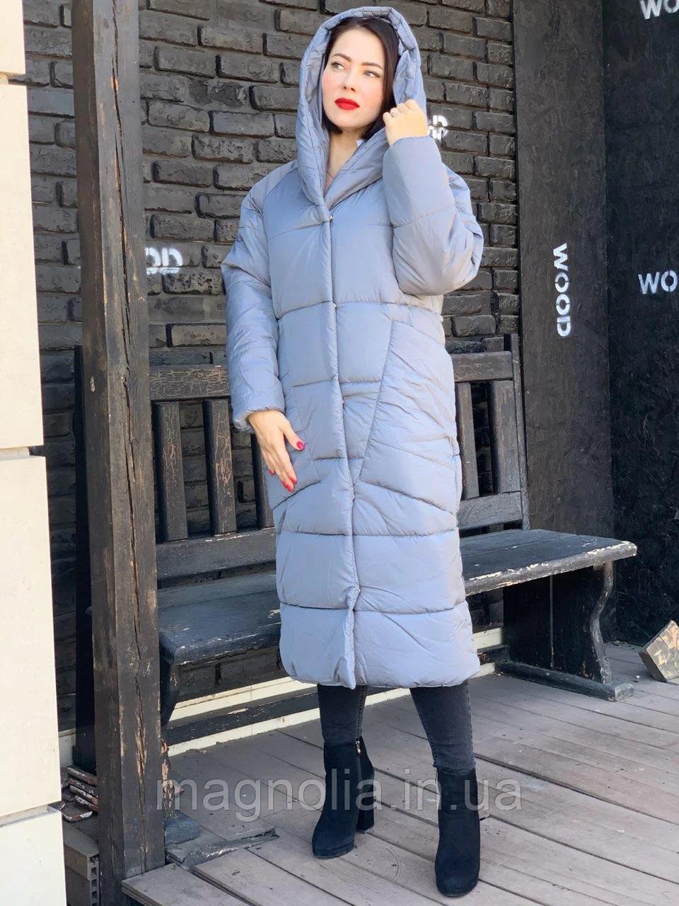 Довга тепла зимова куртка ковдра пальто одеяло з капішоном (плащівка, наповнювач силикон 300) 50-52