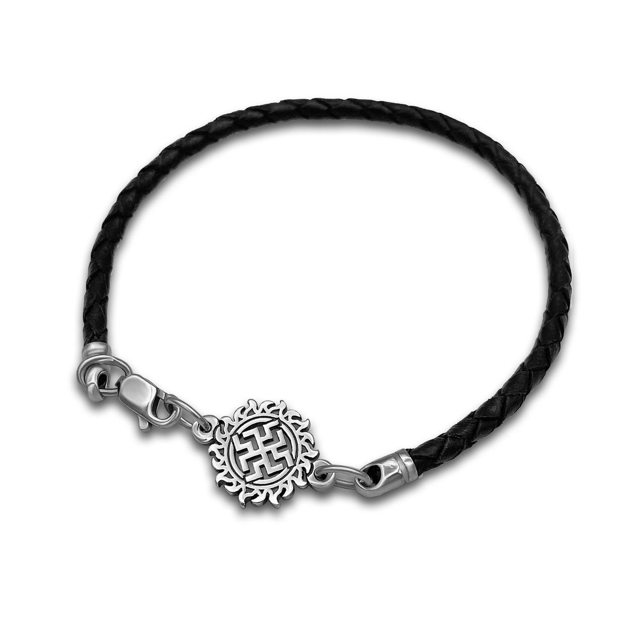 Кожаный браслет - оберег Зайчик из серебра 925  пробы