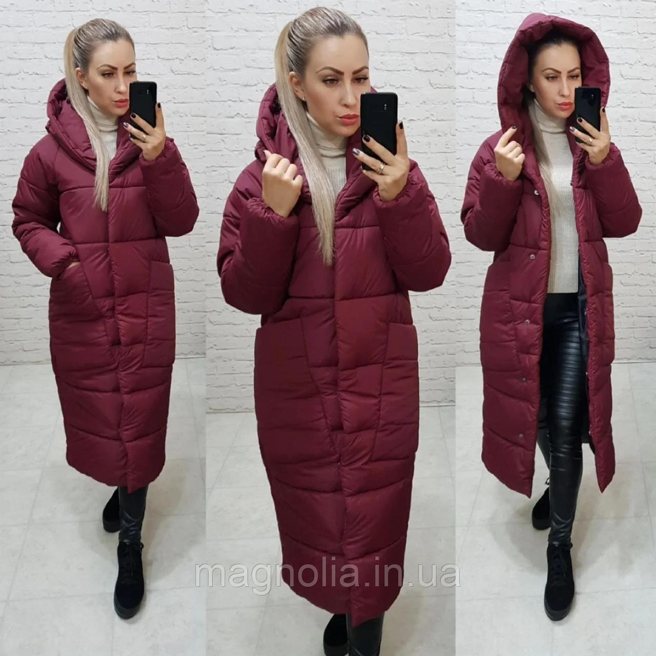Довга тепла зимова куртка ковдра пальто одеяло з капішоном (плащівка, наповнювач силикон 300) 54-56