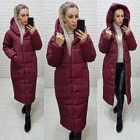 Довга тепла зимова куртка ковдра пальто одеяло з капішоном (плащівка, наповнювач силикон 300) 46-48