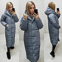 Довгий теплий пуховик куртка пальто ковдра кокон оверсайз з капішоном (плащівка, наповнювач силікон) 50-52