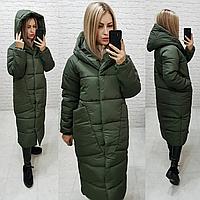 Довгий теплий пуховик куртка пальто ковдра кокон оверсайз з капішоном (плащівка, наповнювач силікон), фото 1