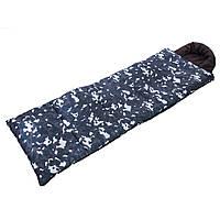 Спальный мешок-одеяло с капюшоном Спальник походный туристический теплый CHAMPION Хаки-камуфляж (SY-4798)