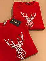 Новогодние парные свитшоты. Одежда для парня и девушки. Новогодные олени