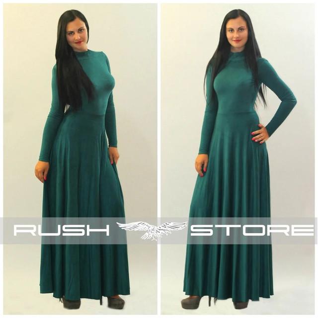 женское платье с длинным рукавом в пол