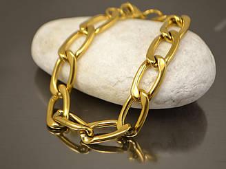 Браслет Крупная цепь 22см, стальная золото