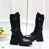 Крутые брутальные черные женские зимние сапоги на шнуровке 36-23см, фото 2