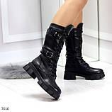 Крутые брутальные черные женские зимние сапоги на шнуровке 36-23см, фото 3