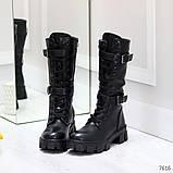 Крутые брутальные черные женские зимние сапоги на шнуровке 36-23см, фото 4