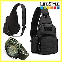 Тактический однолямочный рюкзак 5л / Oxford (A14) + Подарок