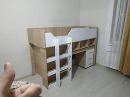 кровать-чердак Микс дуб сонома+белый