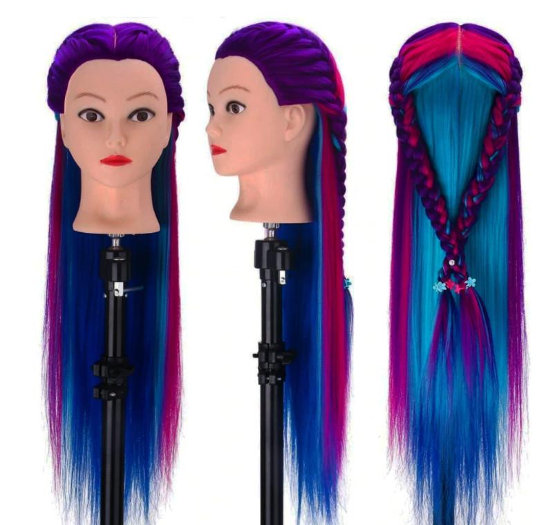 Голова для причесок с искусственными цветными волосами