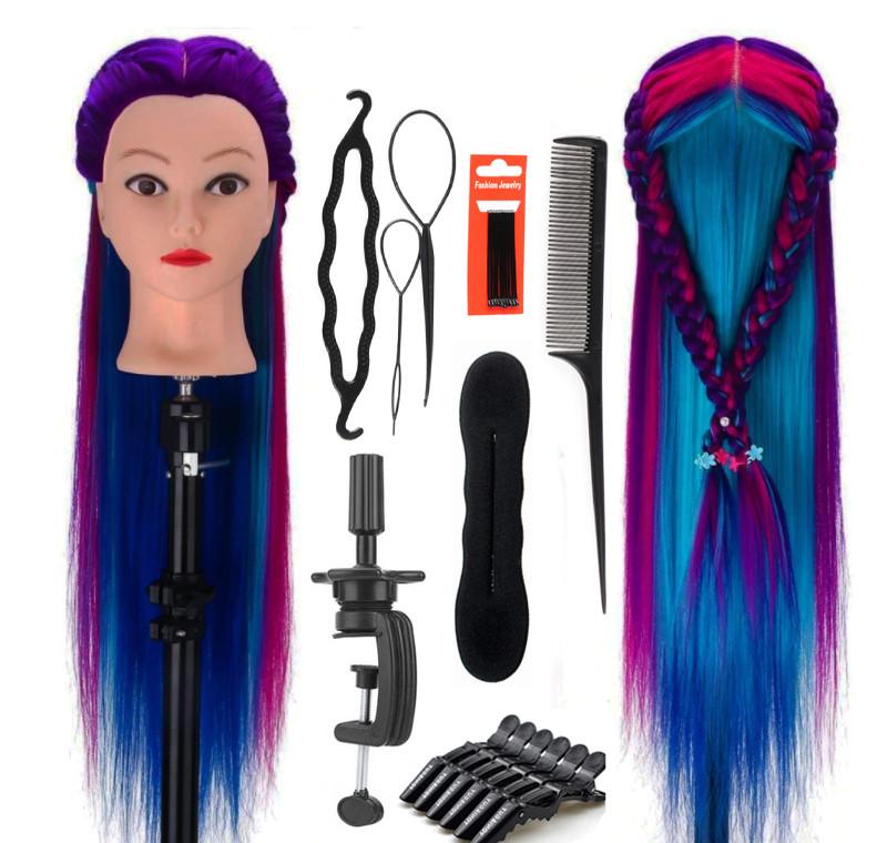 Голова для плетения волос с искусственным волосом плюс набор для плетения