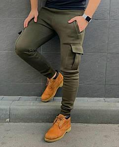 Мужские спортивные штаны. Ткань: Трехнить на ФЛИСЕ  Цвета: черный, хаки Размеры: S (44-46), M(48-50), L(52-54)