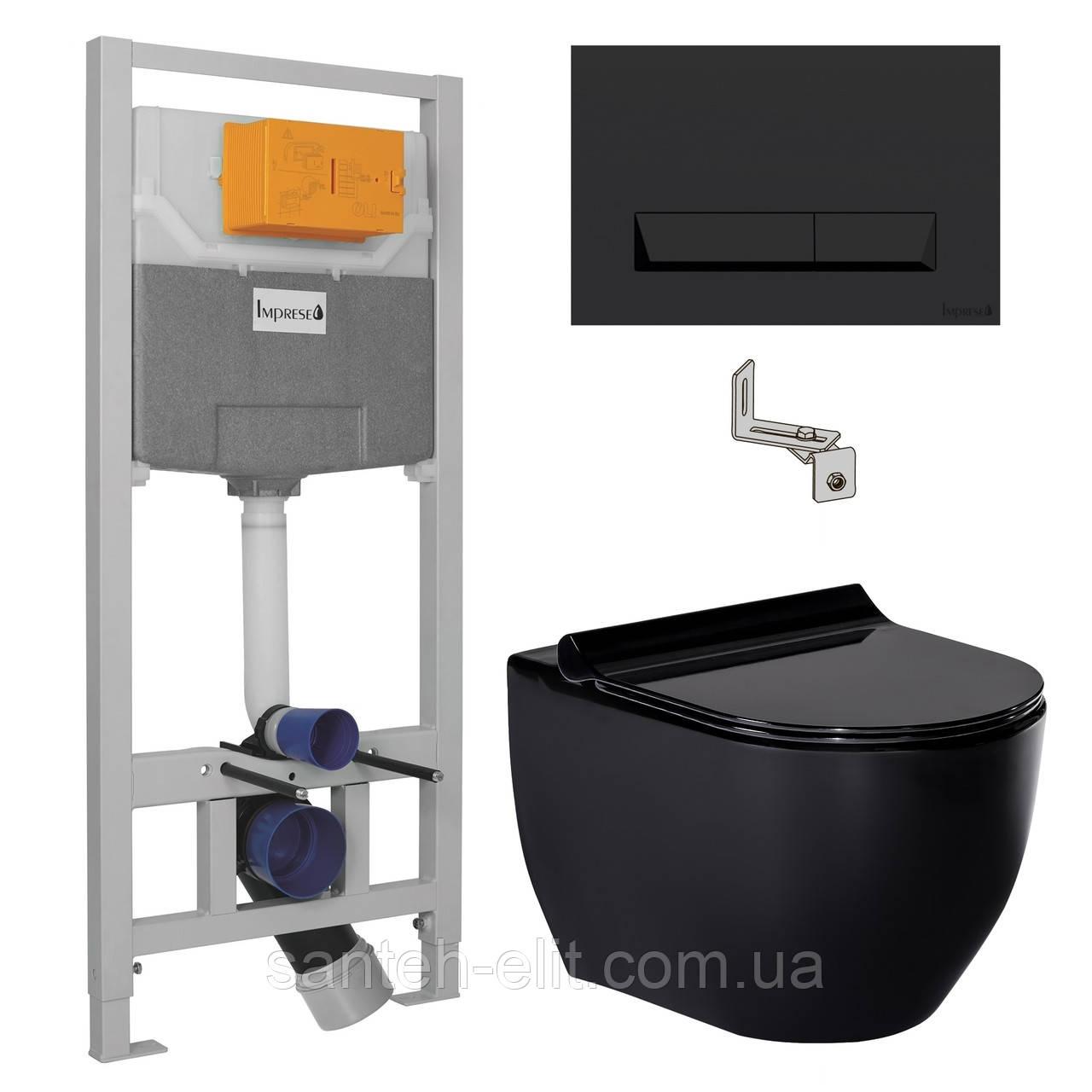 Комплект: Volle BLACK AMADEUS унитаз черный c сиденьем + инсталляция IMPRESE с черной клавишей