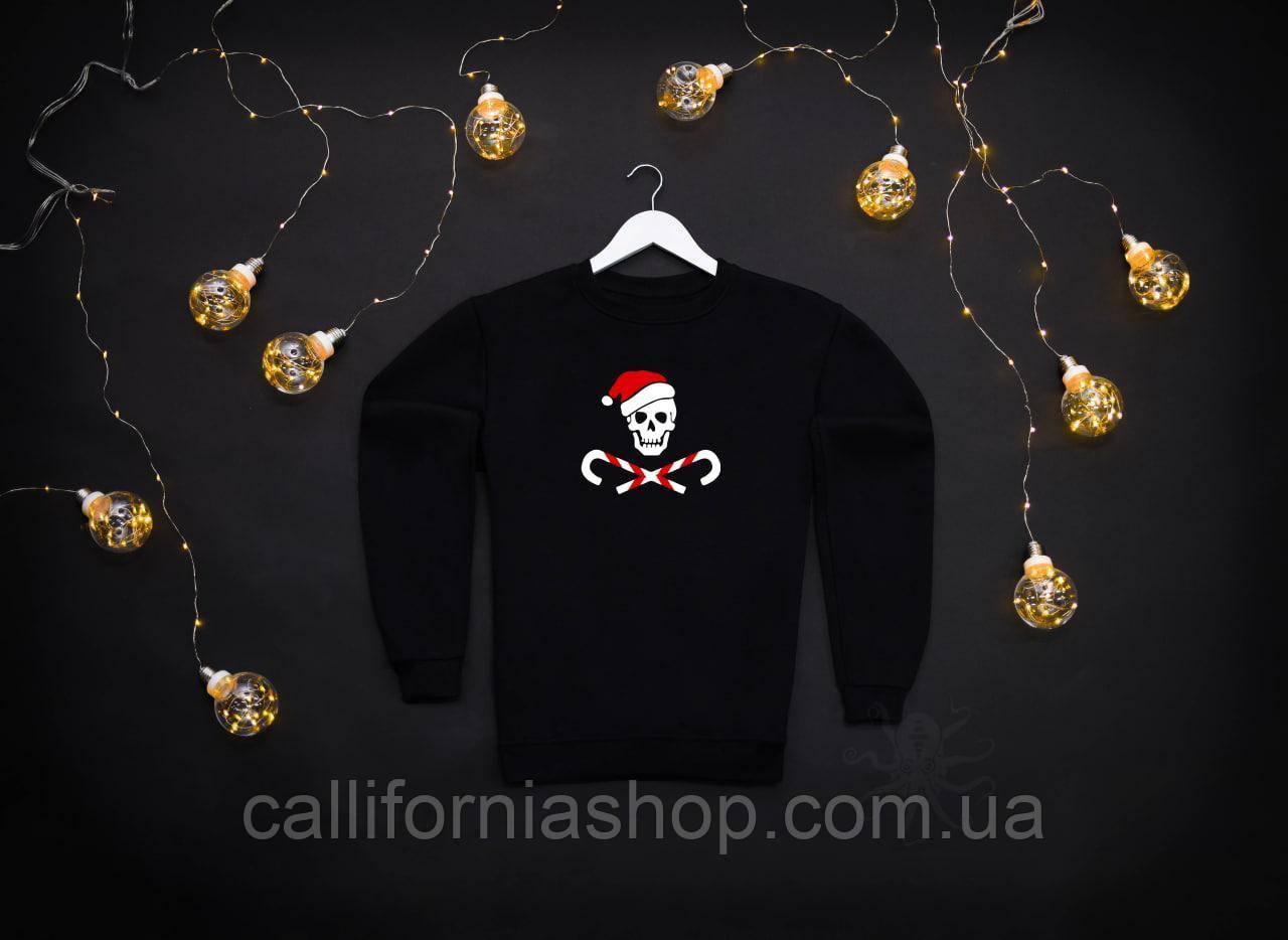 Мужской черный теплый свитшот кофта на флисе с новогодним принтом Bad Santa Плохой Санта Череп
