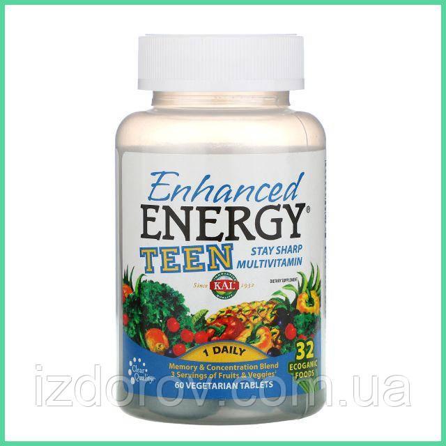 KAL, Enhanced Energy, Для подростков, Смесь для улучшения памяти и концентрации, 60 вегетарианских таблеток
