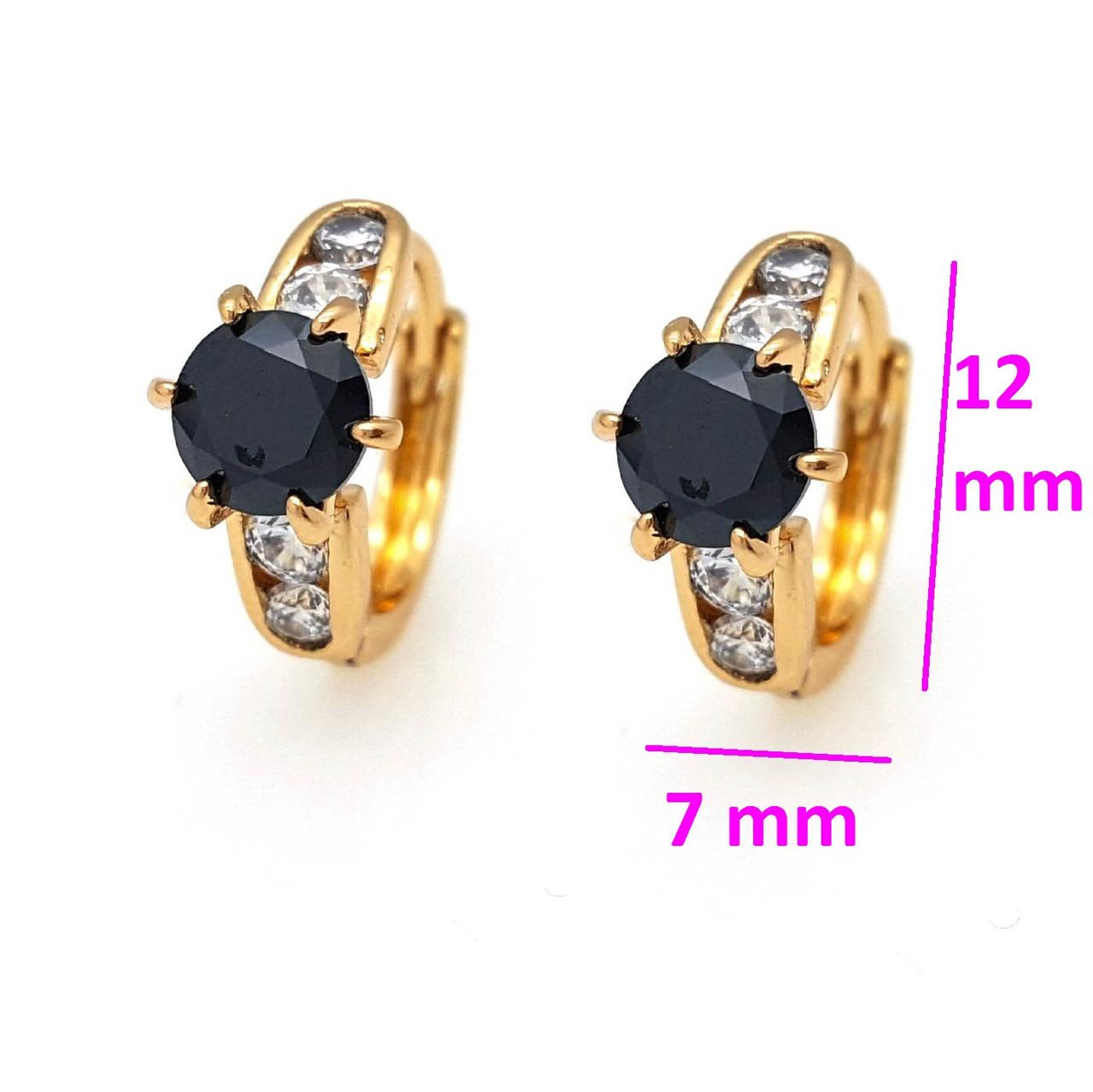 Сережки Колечка з чорним цирконієм, позолота Xuping, 18К