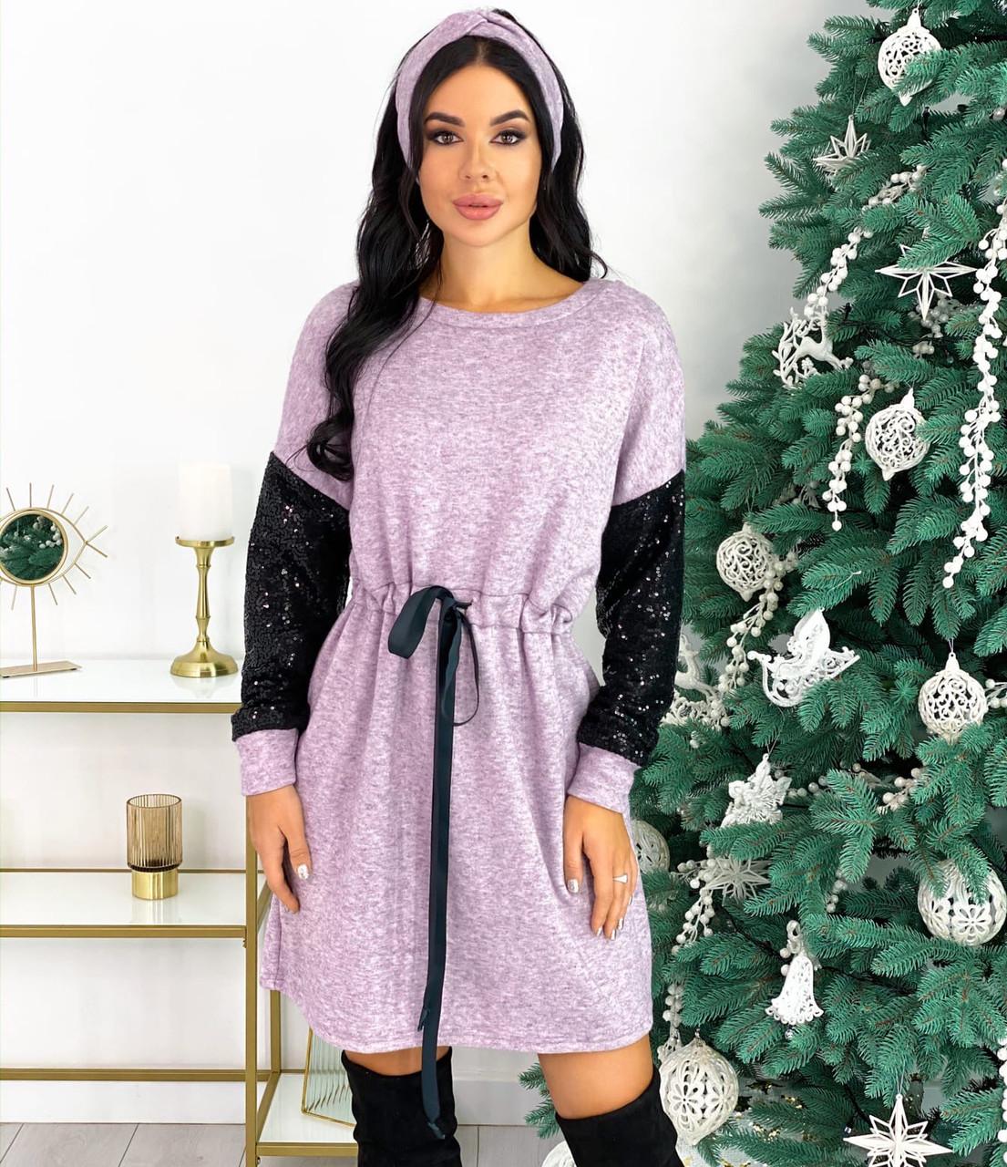 Лиловое ангоровое платье с повязкой