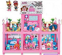 """Детский большой двухэтажный кукольный домик """"LOL"""" 8341 6 кукол"""