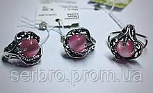 Комплект в серебре с розовым улекситом Лили