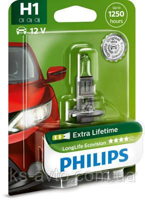 Автолампа галогенова PHILIPS H1 12258 LLECO C1 LONGERLIFE