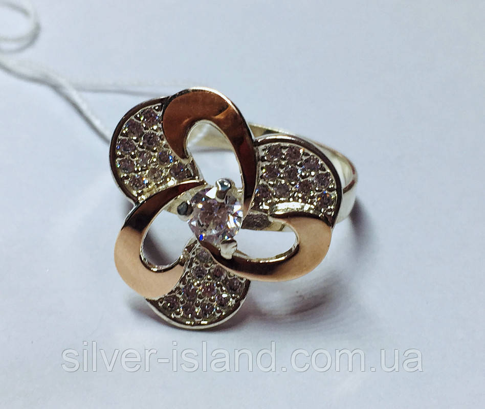 Срібне кільце з золотом і фіанітами Інес