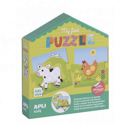 Перші пазли для малюків з наклейками «Ферма» Apli kids