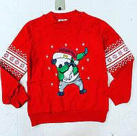 Красный новогодний теплый свитер на байке для ребенка от 6 до 10 лет