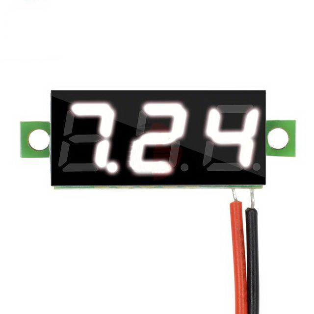 Вольтметр мини 0-100 В белый дисплей
