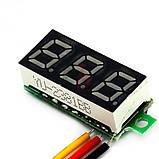 Вольтметр мини 0-100 В зеленый дисплей, фото 3