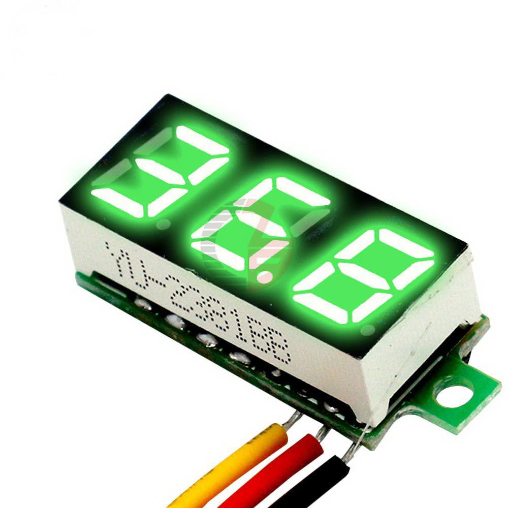 Вольтметр мини 0-100 В зеленый дисплей