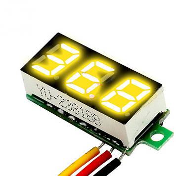Вольтметр мини 0-100 В желтый дисплей