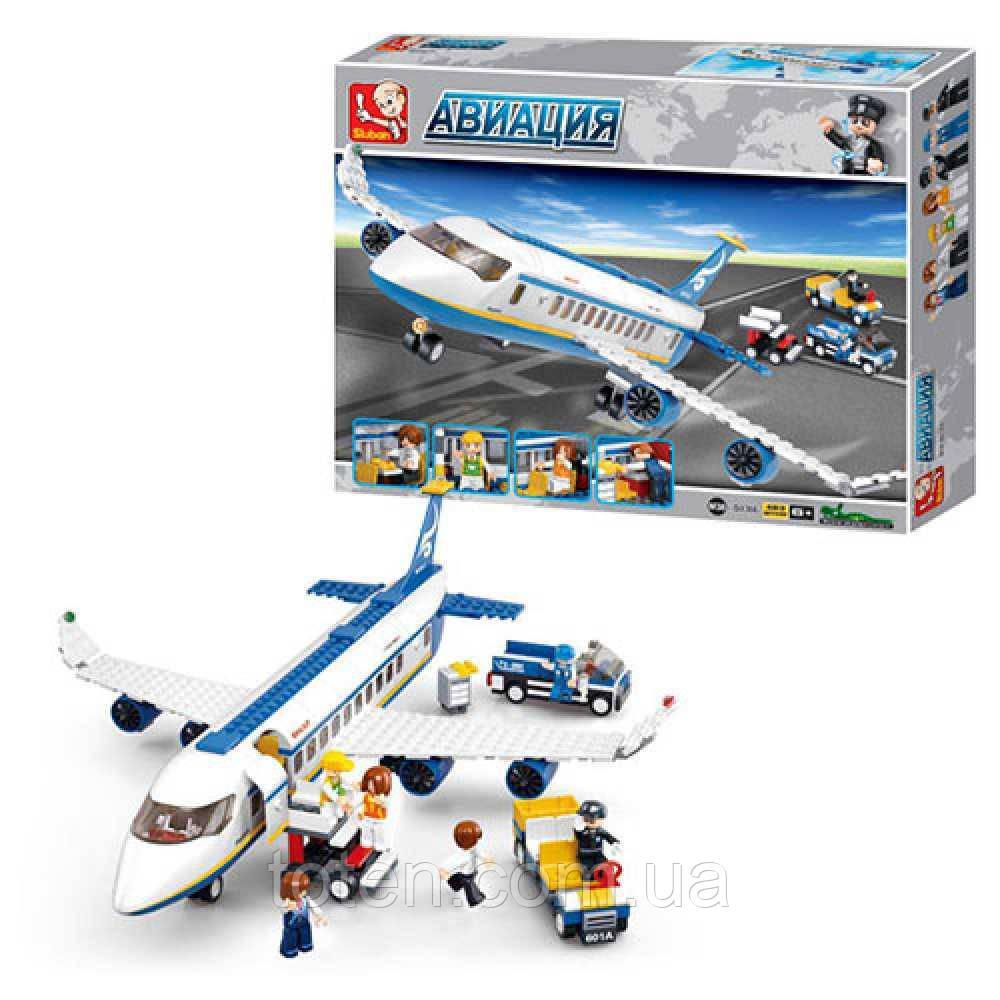 Конструктор SLUBAN  Авиация, Самолет 43 см 463 деталей, фигурки 7 шт M38-B0366