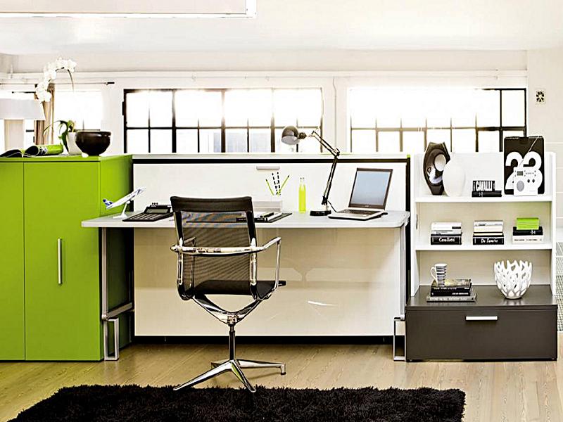 Горизонтально-откидная шкаф-кровать для кабинета или гостиной - фото 1