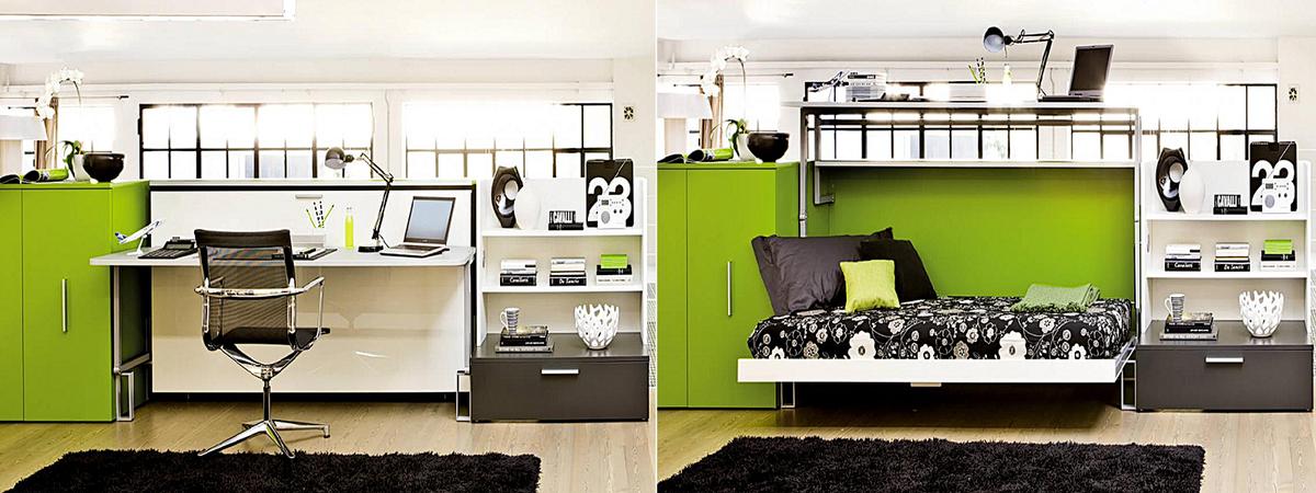 Горизонтально-откидная шкаф-кровать для кабинета или гостиной - фото 2