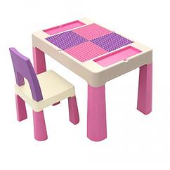 """Дитячий функціональний столик POPPET """"Колор Пінк 5 в 1"""" і стільчик"""