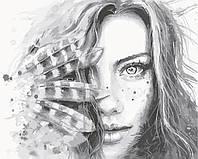 Картина за номерами ArtStory Дівчина з пір'ям 40*50см