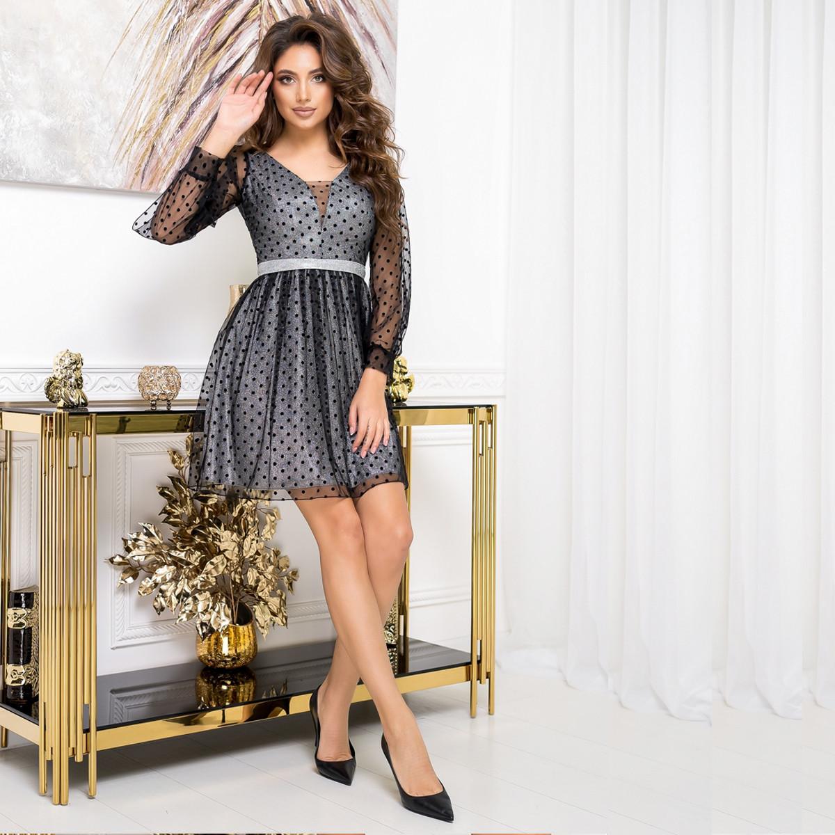 """Плаття стильне жіноче коктейльне сріблясте """"SALUTE"""""""