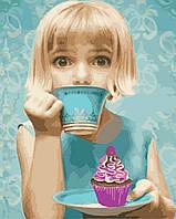Картина по номерам ArtStory Девочка с пироженым 40*50см
