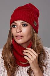 """Комплект """"Зимний"""" шапка и снуд, цвет красный"""