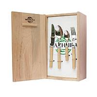 Набір столових приладів у дерев'яній упаковці Beech WOOD MAZHURA (24пр)